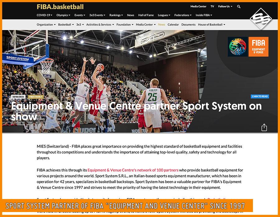 "Sport System partner of FIBA ""Equipment and Venue Center"" since 1997"